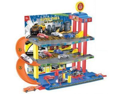 KidsHome Garáž 2 patra s dráhou a 6 aut - Poškozený obal