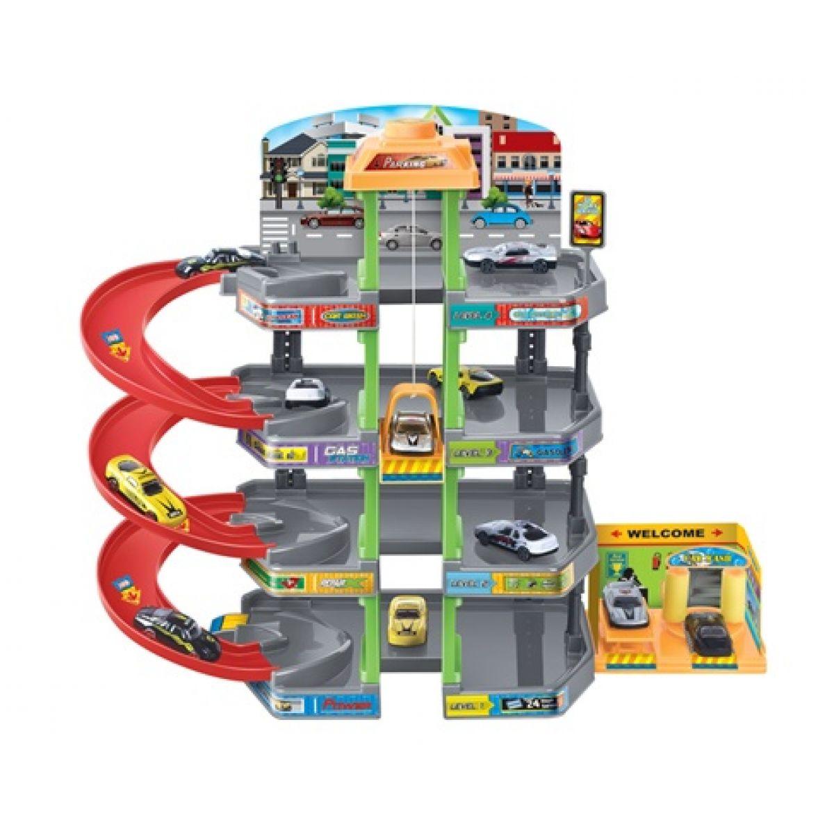 KidsHome Garáž 3 patra s autoservisem a 4 auta - Poškozený obal