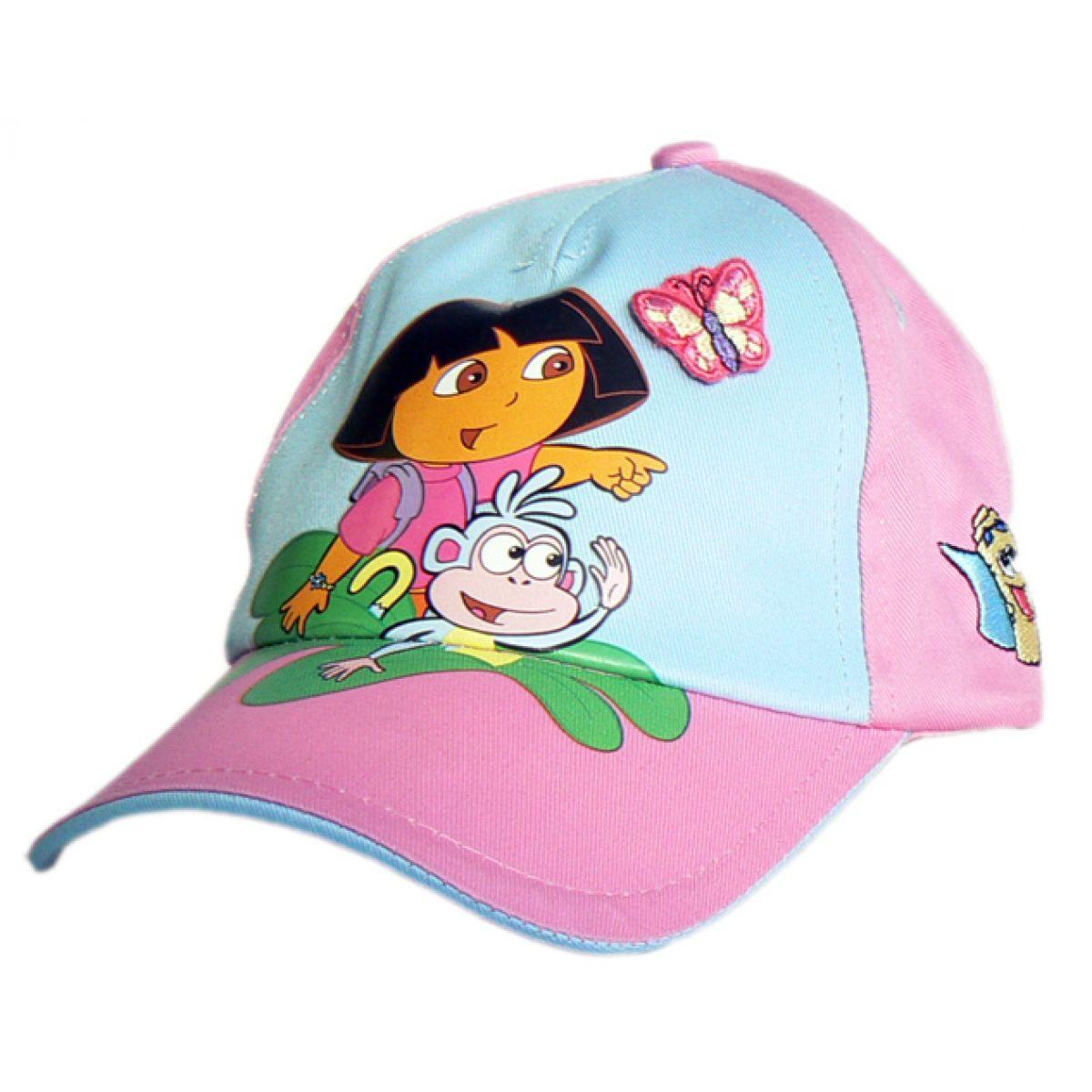 """Licence Only N43168 - Letní kšiltovka """"Dora"""" růžovo-modrá vel.52"""