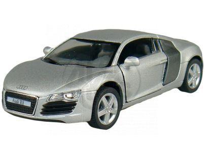 Kinsmart Auto Audi R8 na zpětné natažení 13cm - Stříbrná