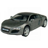 Kinsmart Auto Audi R8 na zpětné natažení 13cm - Tmavě šedá