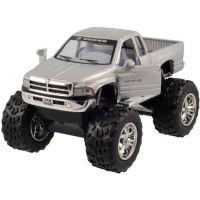 Kinsmart Auto Dodge Ram velká kola na zpětné natažení 12cm - Stříbrná