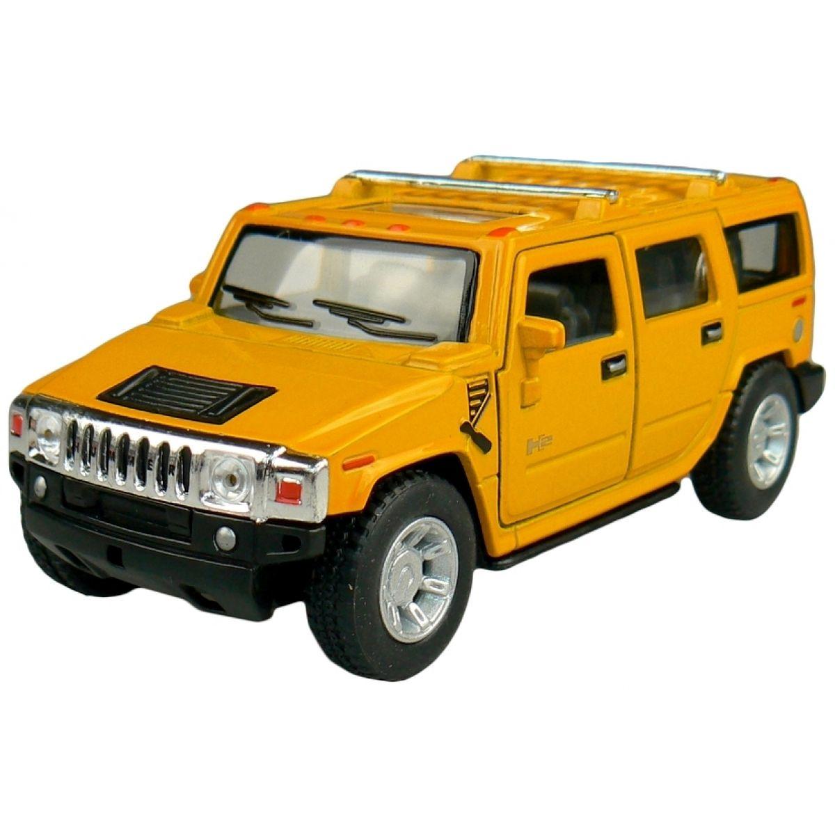 Kinsmart Auto Hummer H2 na zpětné natažení 12cm - Žlutá