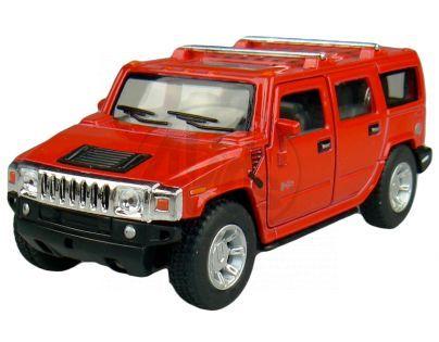 Kinsmart Auto Hummer H2 na zpětné natažení 12cm - Červená