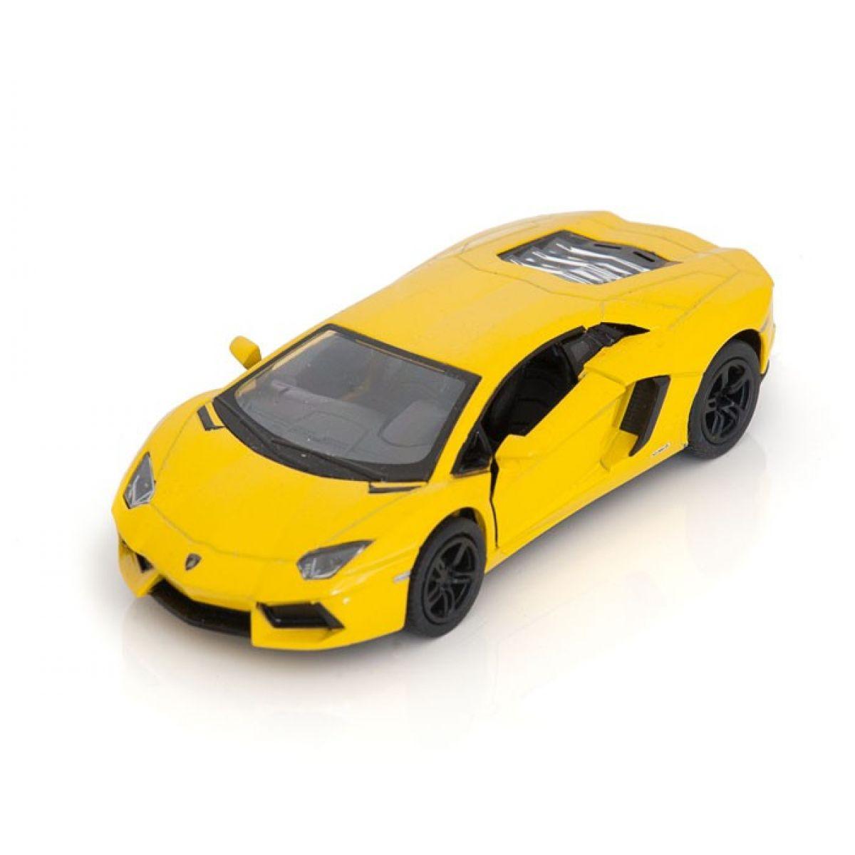 Kinsmart Auto Lamborghini Aventador na zpětné natažení 13cm - Žlutá