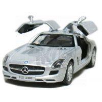 Kinsmart Auto Mercedes Benz SLS AMG na zpětné natažení 13cm - Stříbrná 2