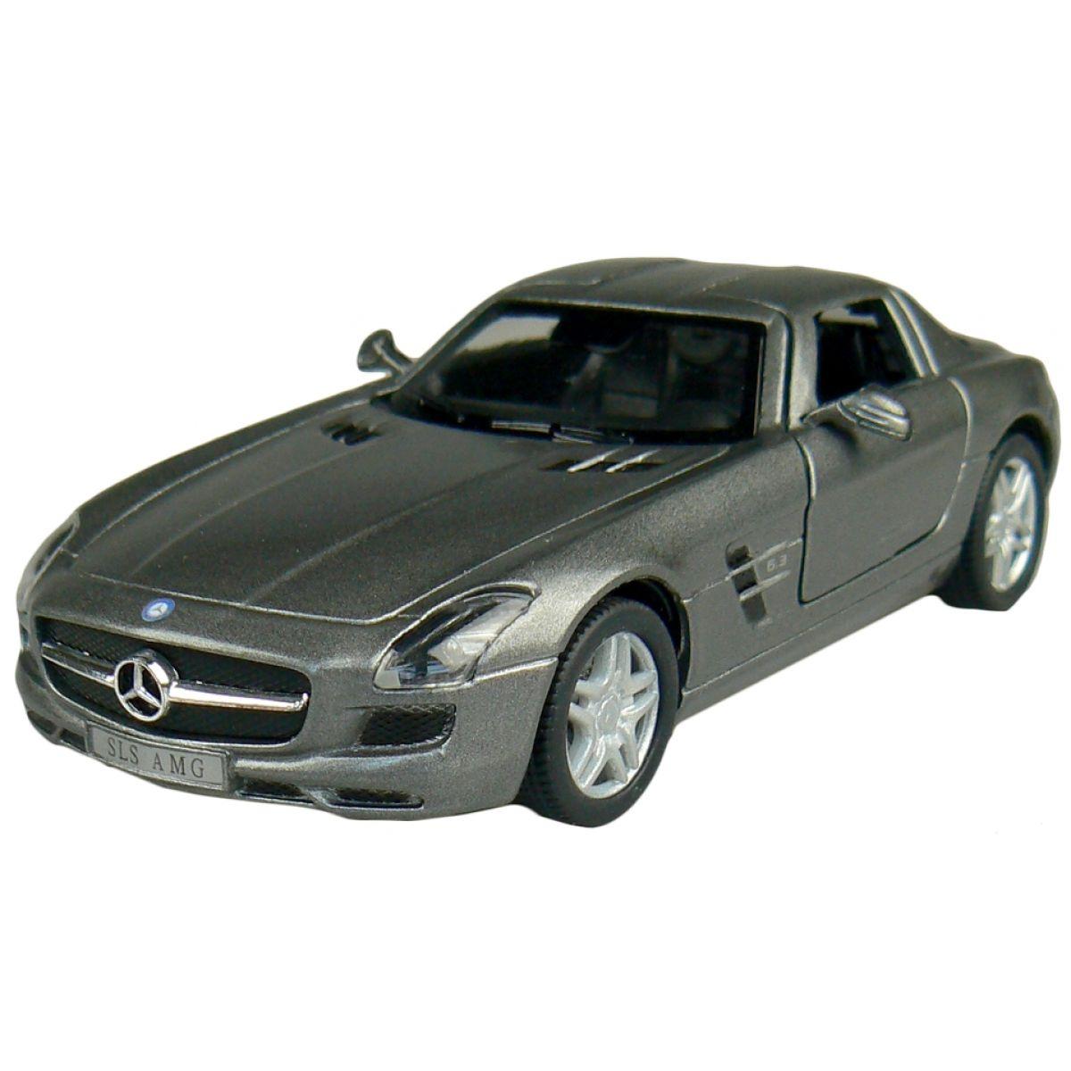 Kinsmart Auto Mercedes Benz SLS AMG na zpětné natažení 13cm - Tmavě šedá