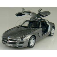 Kinsmart Auto Mercedes Benz SLS AMG na zpětné natažení 13cm - Tmavě šedá 2