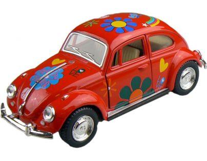 Kinsmart Auto Volkswagen Beetle hippies na zpětné natažení 13cm - Červená