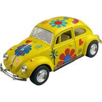 Kinsmart Auto Volkswagen Beetle hippies na zpětné natažení 13cm - Žlutá