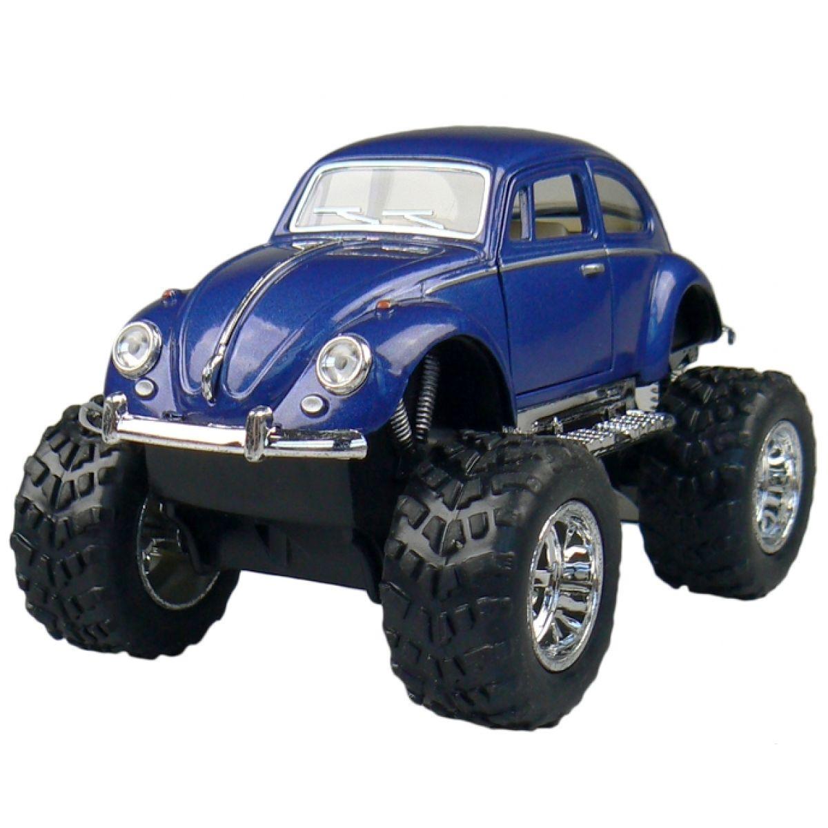 Kinsmart Auto Volkswagen Beetle velká kola na zpětné natažení - Modrá