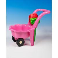 Mikro Kolečko na písek s lopatkou a hrabičkami růžové
