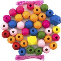Korálky dřevěné barevné Maxi 106 ks