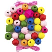 Korálky dřevěné barevné Maxi 54 ks