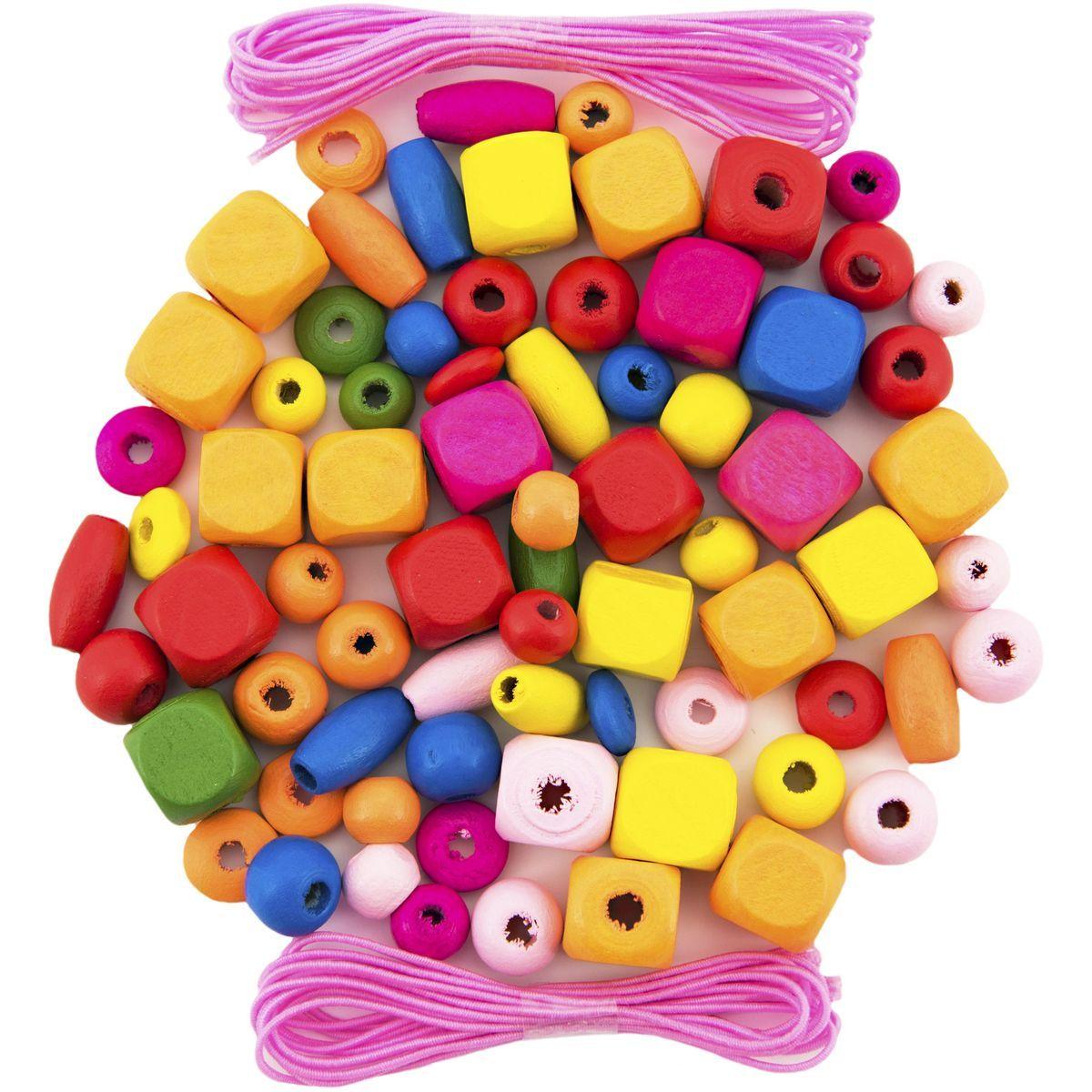 Korálky dřevěné barevné 300 ks v plastové dóze