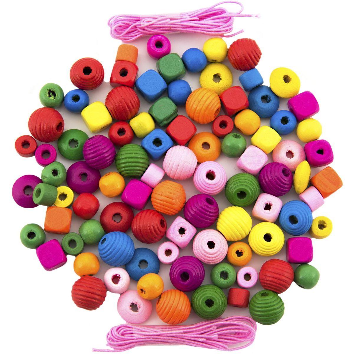 Korálky dřevěné barevné 800 ks ve velké plastové dóze