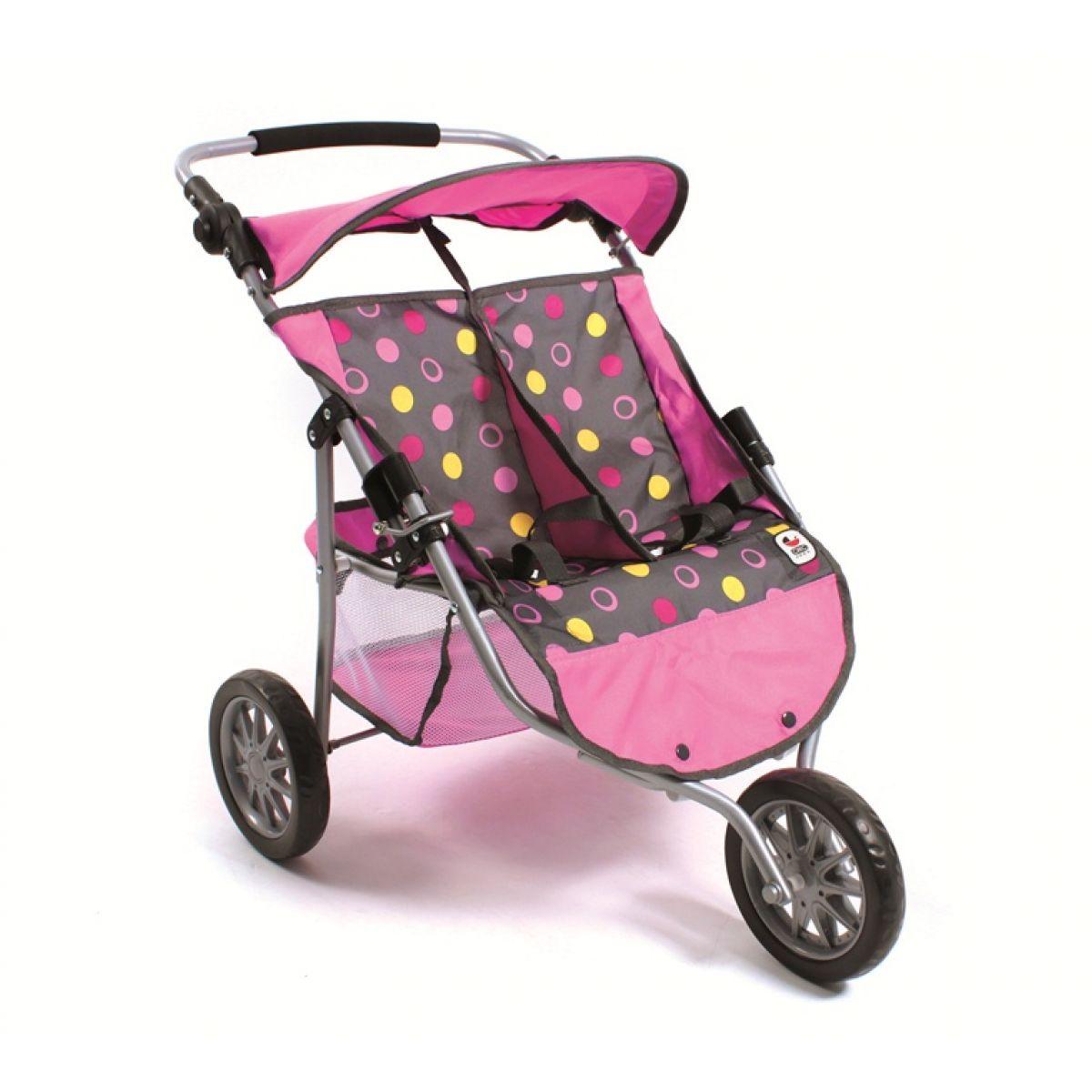 BAYER CHIC 2000 - 69724 - Kočárek pro panenky JOGGER pro dvojčata - Funny pink