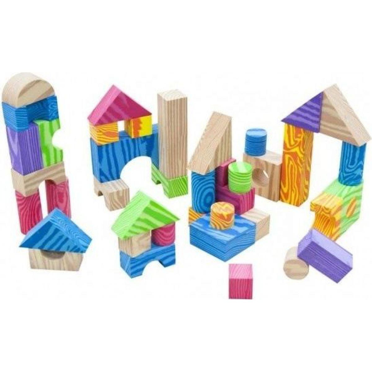 Kocky penové farebné mäkké 60 ks imitácia dreva v plastovej taške