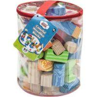 Kocky penové farebné mäkké 60 ks imitácia dreva v plastovej taške 2
