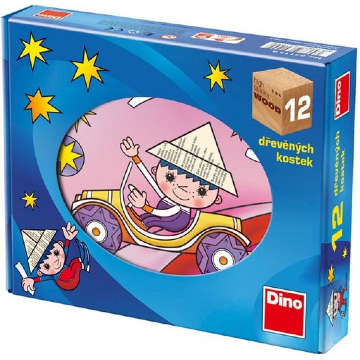 DINO 641136 - Dřevěné kostky Večerníček 12 ks