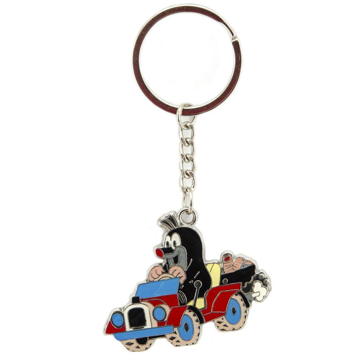Kovový přívěšek na klíče Krtek v autíčku