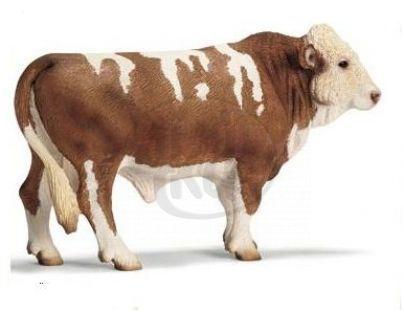 Schleich 13640 - Zvířátko - simentálský býk (český strakatý skot)
