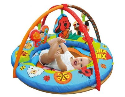 K's Kids Aréna kulatá s polštáři, hrazdičkou a závěsnými hračkami