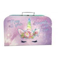 Kufřík Jednorožec růžovofialový 35 cm
