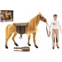 Kôň flíska česacií s doplnkami a džokej