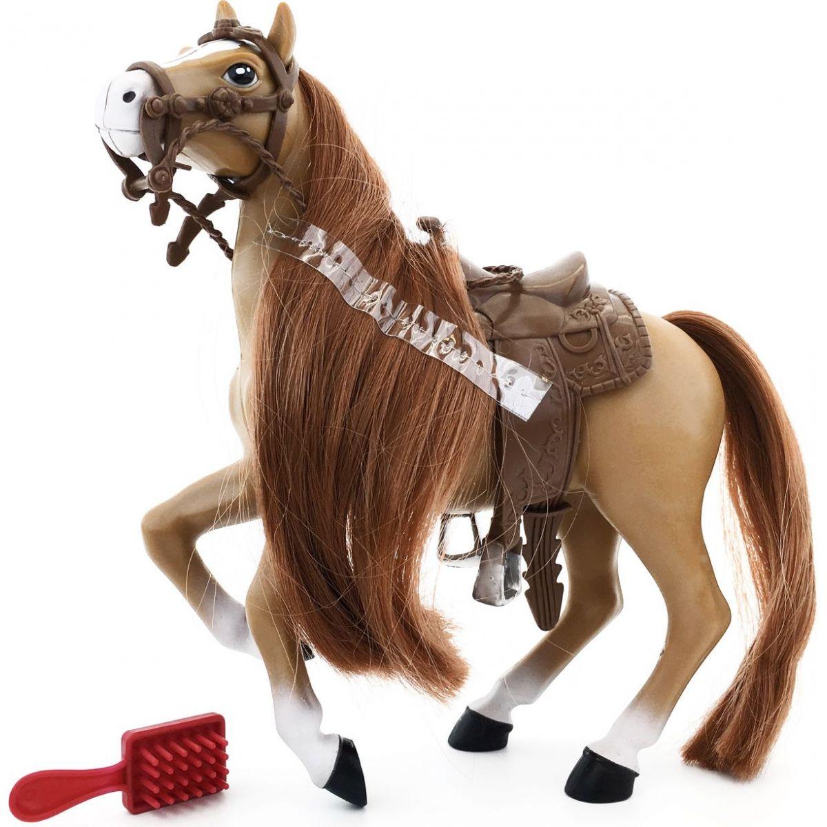 Kůň s hřebenem 18 cm - Hnědý s hnědou hřívou