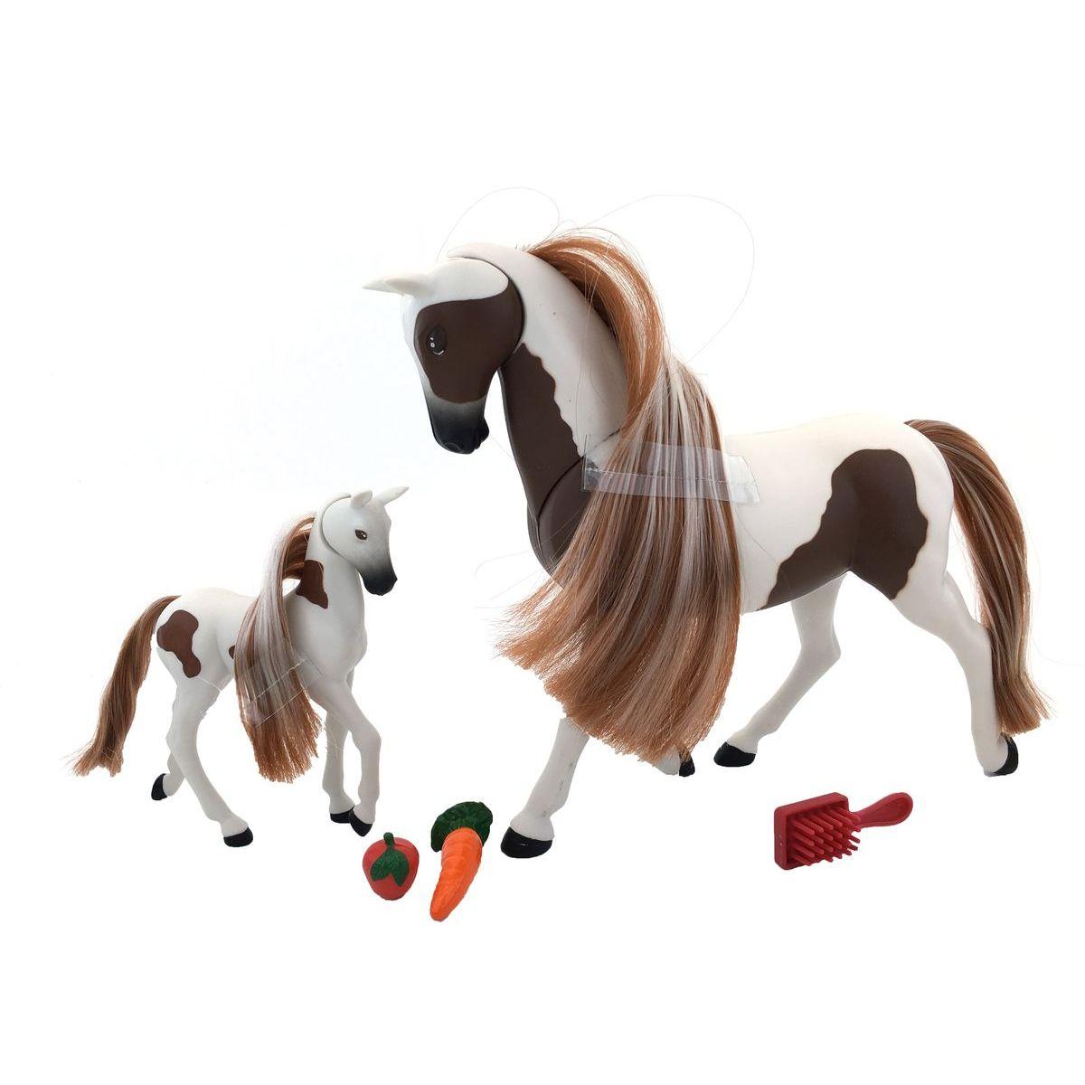 Lanard Kůň s hříbětem 18 cm - Hnědo-Bílá