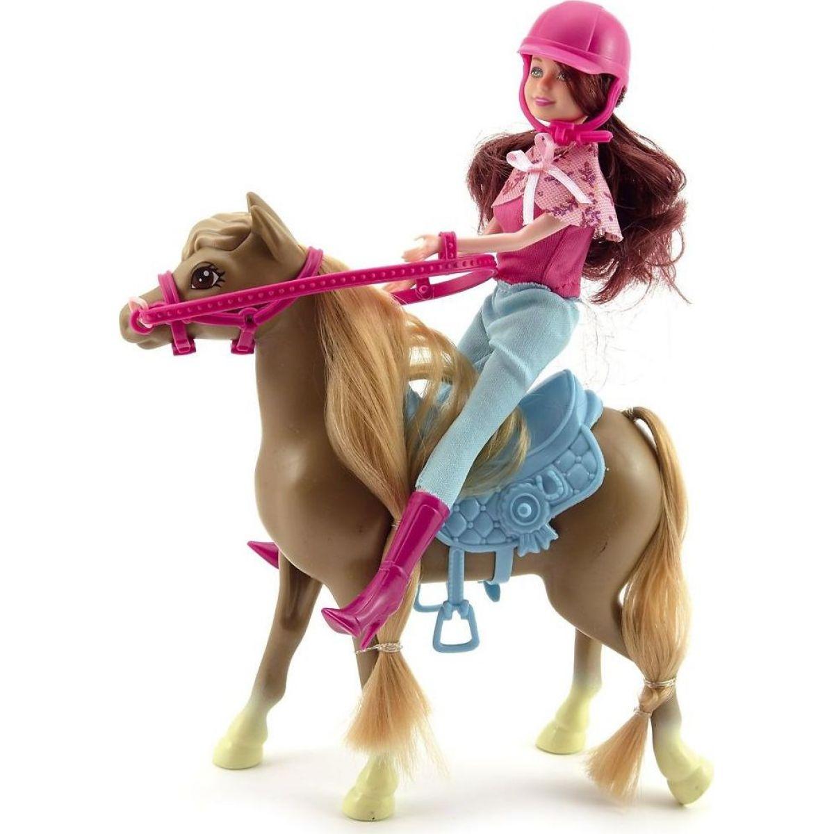 Teddies Kůň + panenka žokejka plast v krabici 34x27x7 cm