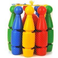 MikiFun Kuželky plastové malé 23 cm v košíčku