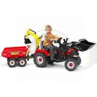 Falk Šlapací traktor Case IH Puma 240CVX s přední i zadní lížící a přívěs 2