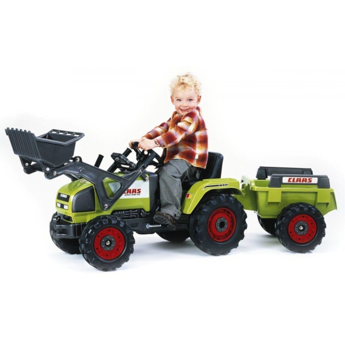 Šlapací traktor CLAAS Ares nakladač+přívěs zelený