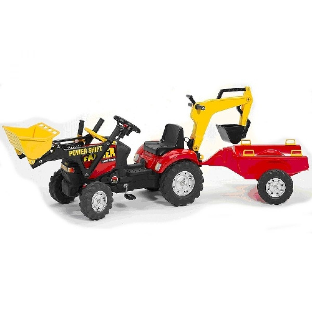 Šlapací traktor FARMER nakladač červený+rypadlo+přívěs