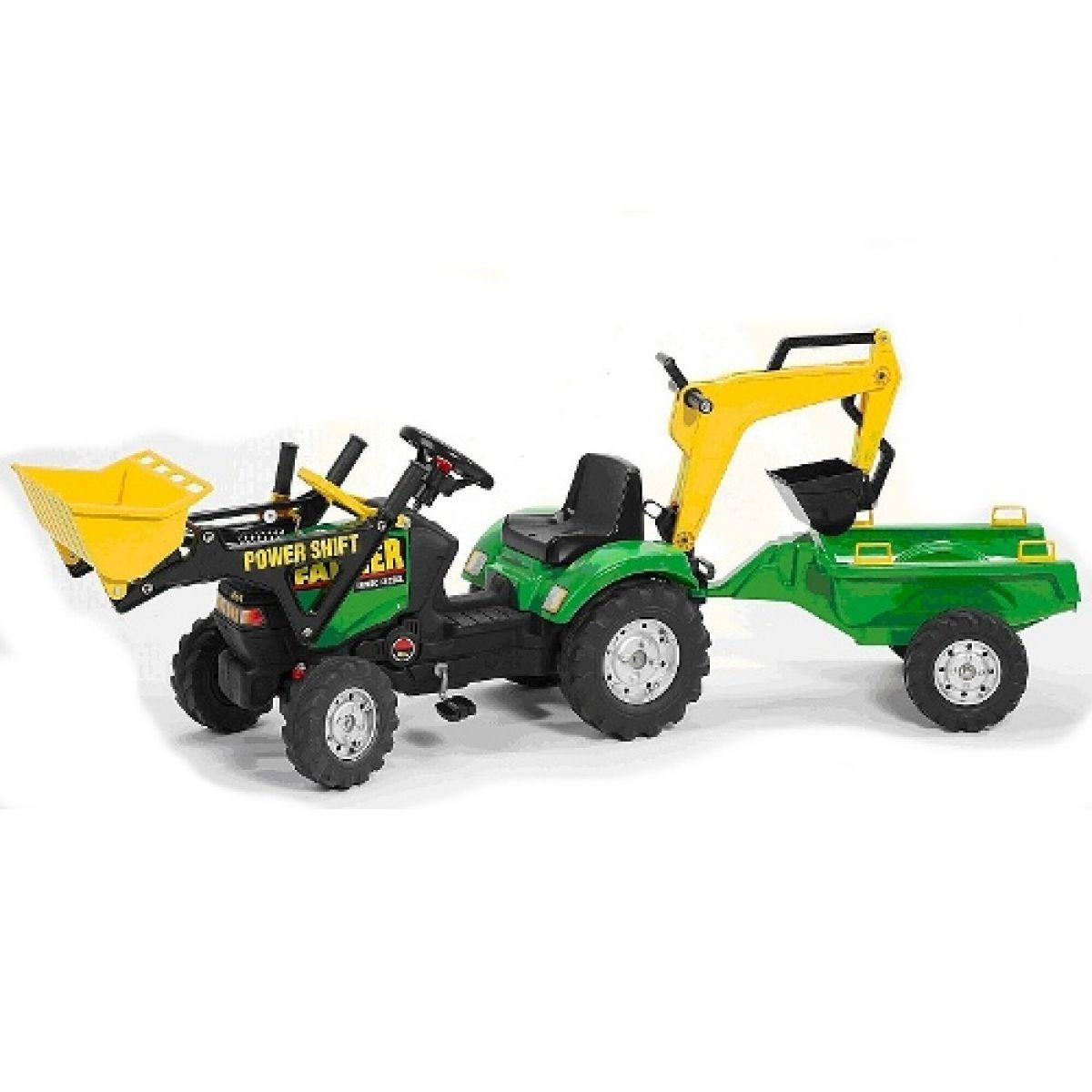 Šlapací traktor FARMER nakladač zelený+rypadlo+přívěs