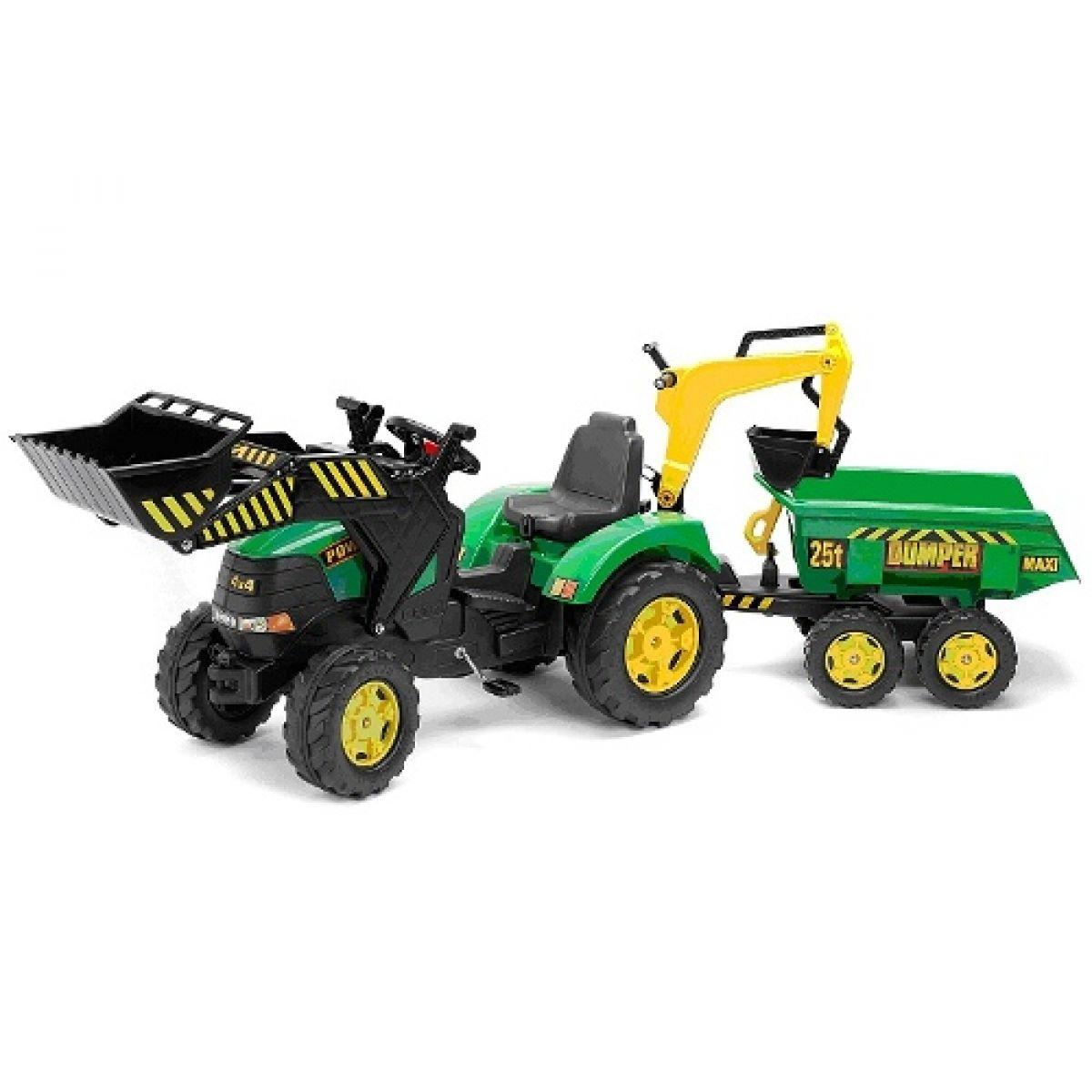Falk Šlapací traktor Powerloader zelený s přední i zadní lížící a přívěse