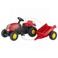 Rolly Toys Šlapací traktor Rolly Kid s vlečkou červený