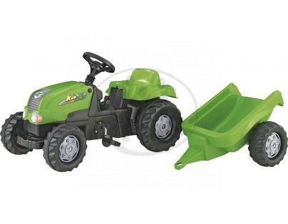 Rolly Toys 012169 - Šlapací traktor Rolly Kid s vlečkou - zelený