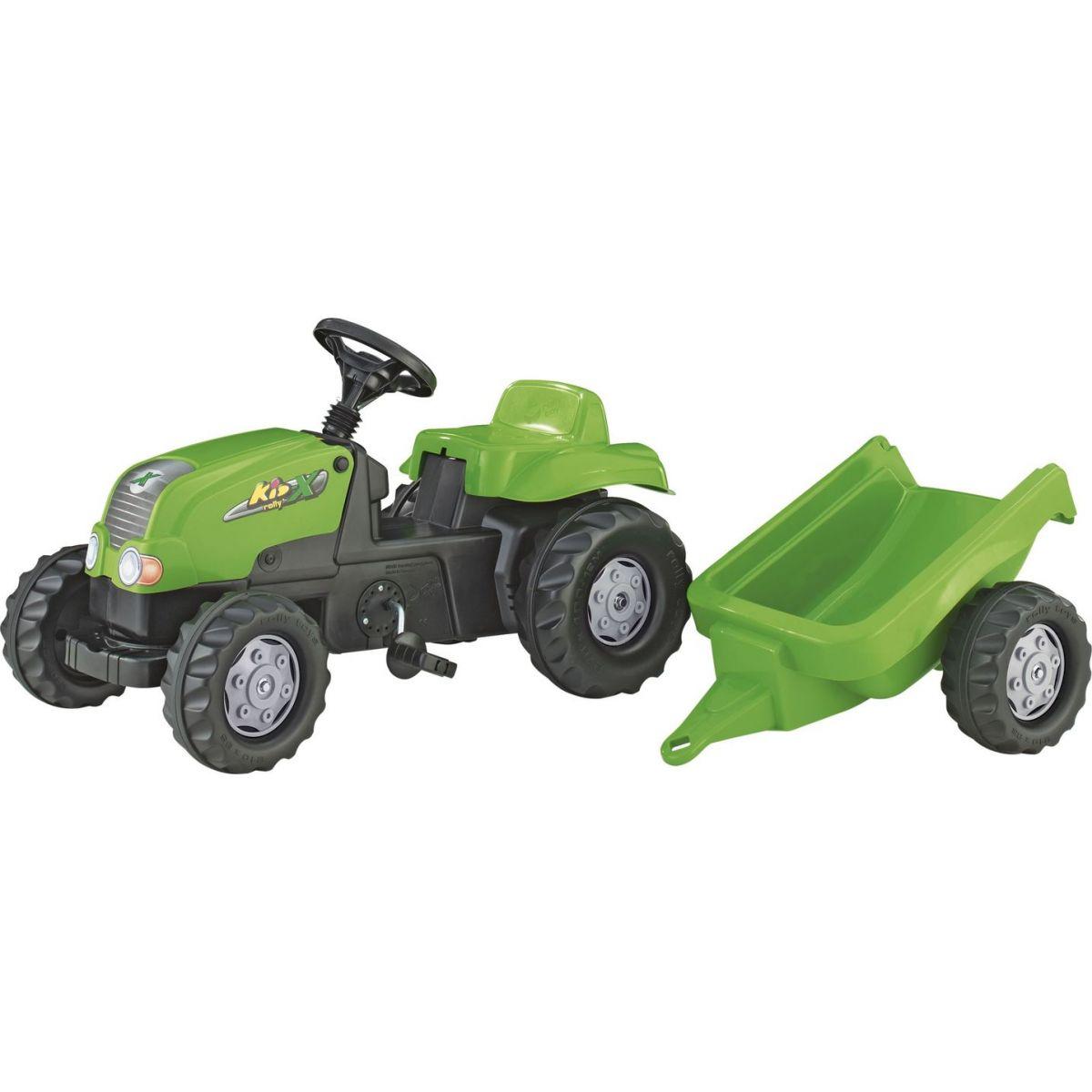 Rolly Toys Šlapací traktor Rolly Kid s vlečkou zelený