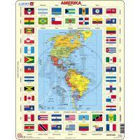 Larsen 23104 - Výukové puzzle Mapa Ameriky + vlajky
