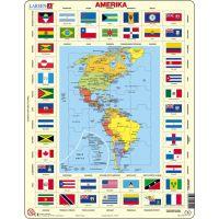Larsen Výukové puzzle Mapa Ameriky a vlajky