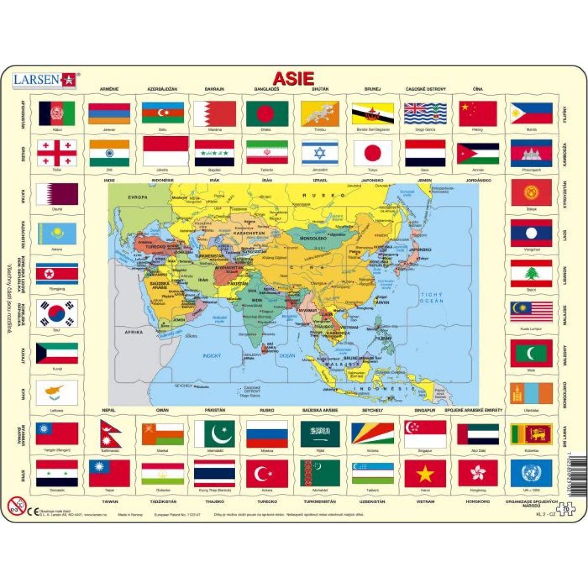 Larsen Mapa ASIE + vlajky 70 dílků