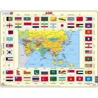 Larsen Výukové puzzle Mapa ASIE a vlajky