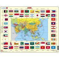 Larsen 23102 - Výukové puzzle Mapa ASIE + vlajky