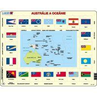 Larsen Výukové puzzle Mapa Austrálie a Oceánie a vlajky