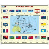 Larsen 23105 - Výukové puzzle Mapa Austrálie a Oceánie + vlajky
