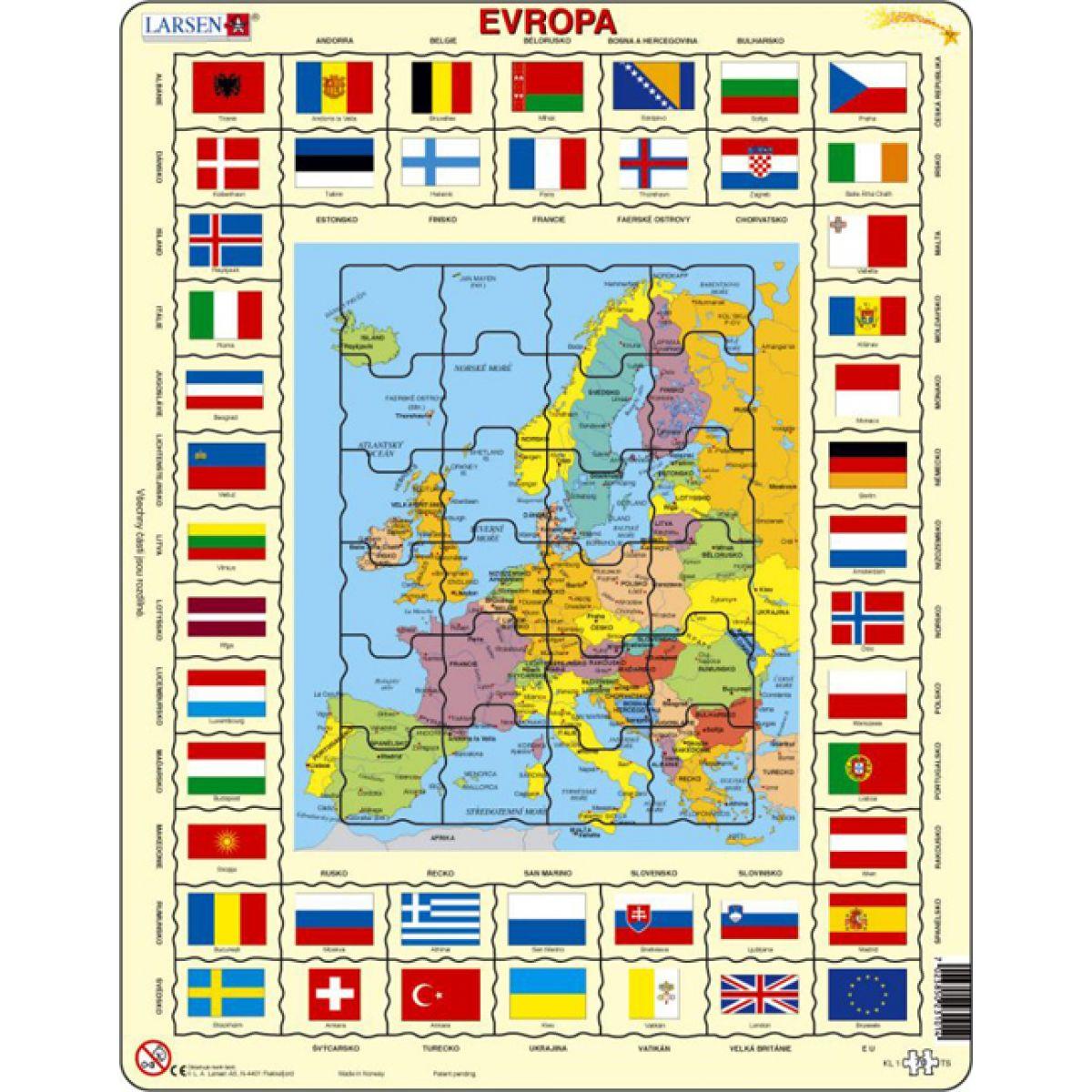 Larsen Výukové puzzle Mapa Evropy a vlajky