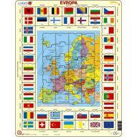 Larsen 23101 - Výukové puzzle Mapa Evropy + vlajky